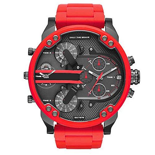QSXF Herren Quarzuhr Edelstahlarmband großes Zifferblatt 55mm Casual Fashion Outdoor Persönlichkeit Uhr, D
