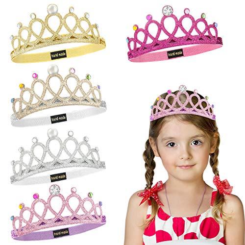WolinTek 5Pcs Madchen Krone Haarband, Prinzessin Tiara Set Tiara Elastisches Haarband Sparkling Crown Stirnband para Kinder