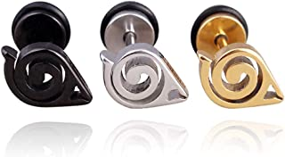 CREPUSCOLO Anime Naruto Shippuden Leaf Village Earrings Ear Stud for Women's Titanium Steel Earrings Jewelry Cosplay Acces...