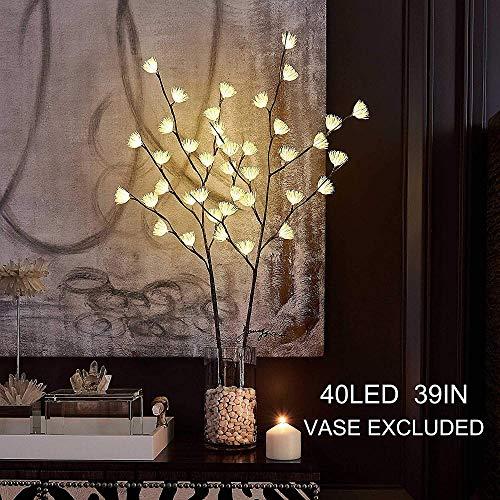 Beleuchteter brauner Weidenzweig mit eisigen Blumen, 99 cm, 40 LEDs, batteriebetrieben und Stecker für Weihnachten, Heimdekoration, Innen- und Außenbereich, Lichterkette, Draht, unsichtbar