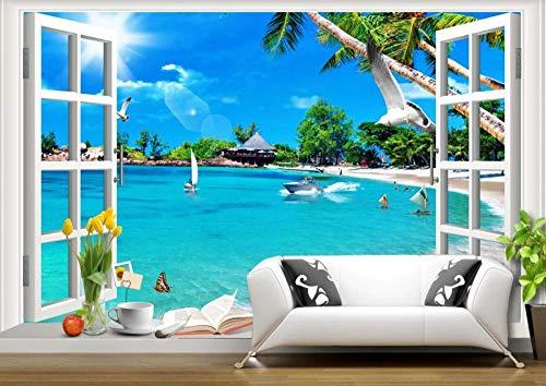 Carta Da Parati 3D Spiaggia Di Paesaggio Della Finestra Del Mare Del Cielo Blu Fotomurali Murales Da Parete 3D