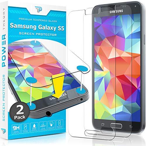 Power Theory Panzerglasfolie passend für Samsung Galaxy S5 / S5 Neo (2 Stück) - 9H Panzerglas Folie, HD Bildschirmschutzfolie/Panzerfolie, Tempered Glas Schutzglas, Schutzfolie Screen Protector Glass