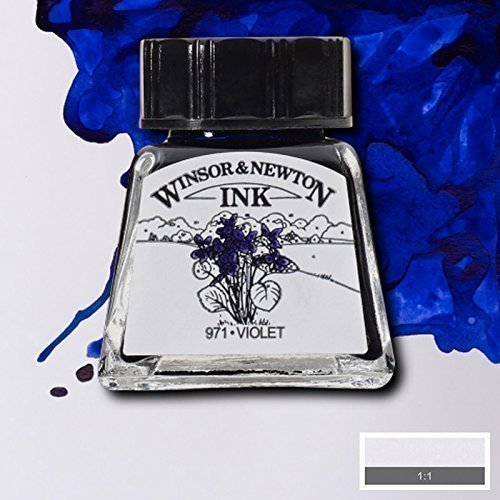 Winsor & Newton Drawing Inks 14ml Art Calligraphy Black Indian Ink and BIG RANGE (Violet) by Winsor & Newton