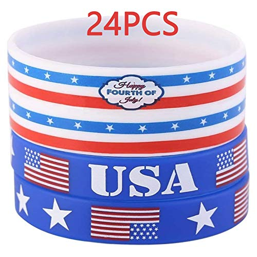 Moon Boat 24 Packs Fourth of July Patriotic Rubber Wristbands Bracelets - 4th of July Flag Party Favors Supplies Gifts Decorations