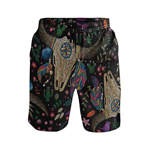Ahomy Herren Badehose Kaktus Blumen Totenkopf Kuh Federn Sommer Strand Shorts Surfen Shorts mit Netzfutter und Taschen Gr. (Taille : 36.5/42