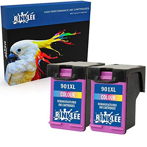 RINKLEE Wiederaufbereitete Tintenpatrone für HP 901 901XL kompatibel mit HP OfficeJet 4500 J4500 J4524 J4535 J4540 J4550 J4580 J4624 J4660 J4680 J4680c G510a G510g G510n   Dreifarbig, 2er-Pack