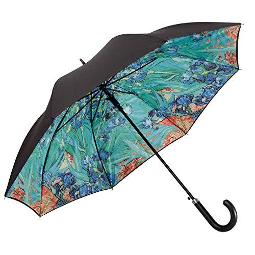 VON LILIENFELD® Ombrello Automatico Donna Arte Fiore Doppio Rivestimento Vincent van Gogh: Iris