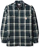 Carhartt Men's Relaxed Fit Flannel Sherpa-Lined Snap-Front Plaid Shirt Jacket, Ink Green, 2X-Large