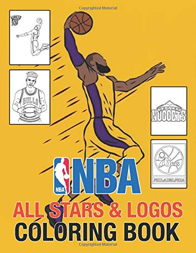 NBA All Stars Coloring Book: 60 beautiful illustrations of NBA team logos and all stars