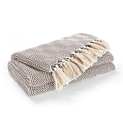 EHC Luxury Reversible Super Soft Cotton Diamond Large Throw For Sofa, Double Bed, Armchair - Beige, 150 x 200 cm