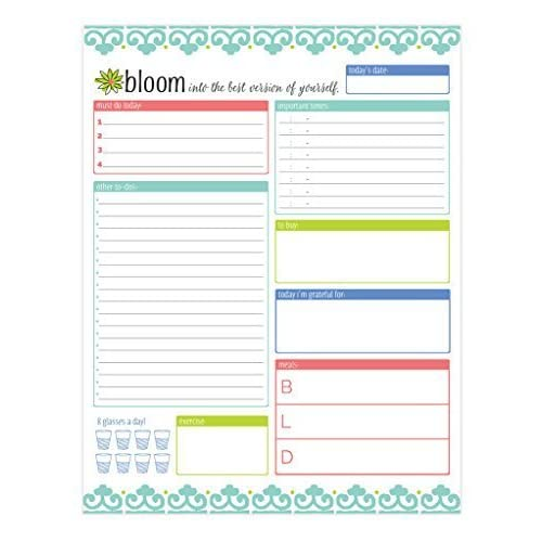 """bloom daily planners Daily Planning System Tear Off to Do Pad - Teal - 8.5"""" x 11"""""""