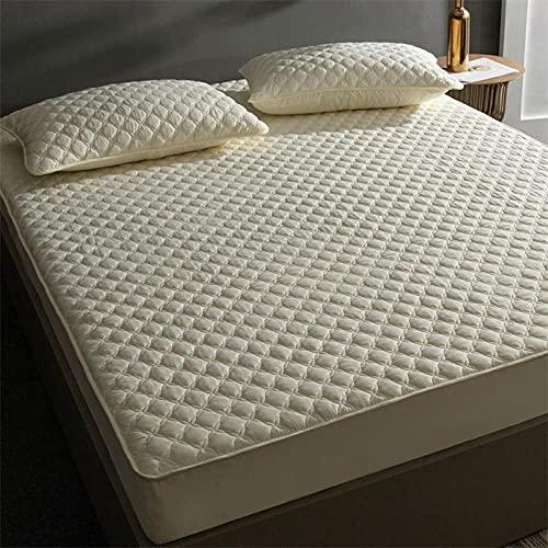 Sábana Bajera Ajustable Elástica Bolsillos profundos individuales de 25 cm,protector de colchón acolchado de algodón, fundas de cama gruesas para apartamento, dormitorio, hotel, beige A 120x200cm