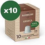 BANDOLERO 100% Compostabile Made in Italy, 100 Capsule Compatibili Nespresso, Caffè Arabica da Coltivazione Ecosostenibile, Aroma Inconfondibile per Macchina Macchinetta Nespresso