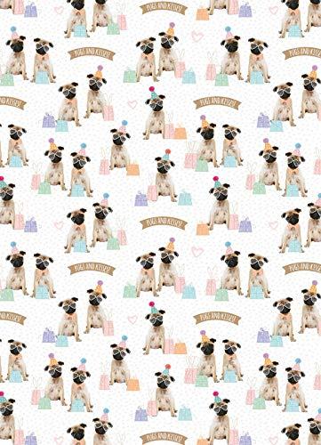 Party Pugs - Geschenkpapier mit Anhänger