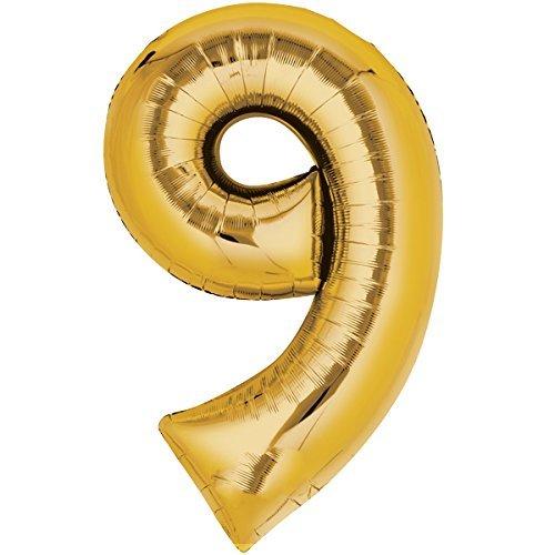 Top Ten Globo de 80 cm dorado con número 9 para inflar con helio y aire.