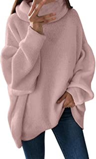 UOKNICE Womens Blouses, Long Sleeves Casual Winter Warm Loose Solid Color Cozy Turtleneck Sweatshirts Pullover Tops