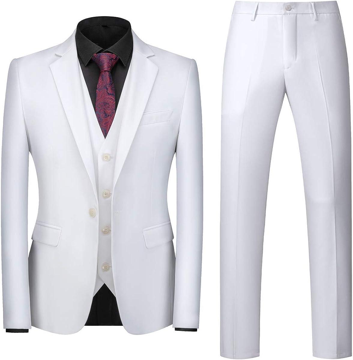 MOGU Mens 3 Piece White Dress Suit Set