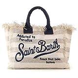 Saint Barth Mc2 Borsa Shopping da Spiaggia in Canvas MOD Vanity Riga Grande Beige