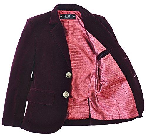 YuanLu Boys Single-Breasted Velvet Burgundy Blazer Size 7