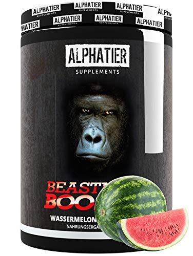 BEASTMODE BOOSTER XXL - 500g - ALPHATIER Pre-Workout Fitness Shake - Koffein, Citrullin, L-Arginin, Creatin, Beta-Alanin - Fokus + Pump beim Training - Watermelon
