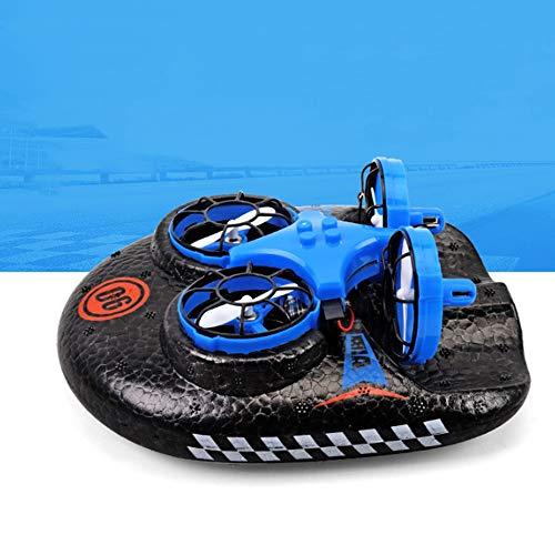 Lihgfw Fernbedienung Flugzeug Wasser, Land und Luft DREI-in-one Kleiner Quadcopter Hovercraft Spielzeug der Kinder Freies Split 360 ° Rollen (Color : Blau, Größe : 2 Batteries)