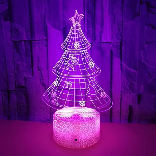 QMMD Lámpara Ilusión 3D LED Luz Nocturna Niños, Alimentada por USB con Control Remoto Inteligente Táctil Regulable 7/16 Colores Navidad Año Nuevo Regalos Cumpleaños Decoración Hogar,Crack3,Touch