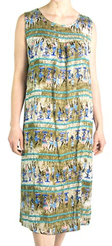 Sakkas 18214 - Vestido Midi sin Mangas con Estampado Floral sin Mangas con Estampado Floral de Verano de Amare - Verde Oliva - OS