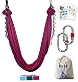 F.Life Aerial Yoga Hammock kit Include Daisy Chain,Carabiner and Pose Guide (Burgundy)