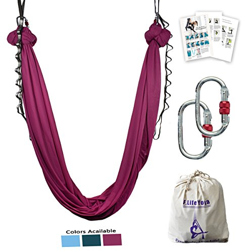 Review F.Life Aerial Yoga Hammock kit Include Daisy Chain,Carabiner and Pose Guide (Burgundy)