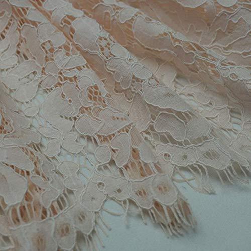 Astonish 1.5 * 1.5meters Stickerei Wimpernbaumwollspitze Stoff Französisch Cord Lace Cloth Nigerian afrikanische Guipure-Spitze für Partei-Hochzeitskleid: 03 Champagner