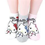 Hello Kitty Series Women's Original Socks 3pairs(3color)=1pack Made in Korea 01