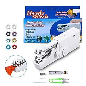 LIUMY Mini Macchina Cucire Portatile,Cucitrice Portatile per Tessuti,Handheld Cordless Strumento di Cucitura Rapida,per Tessuto, Abbigliamento, Uso Domestico da Viaggio