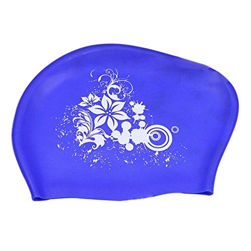 Mujer pelo largo de natación de natación Natación Gorro de natación de silicona Agua Densidad nadar, color azul, tamaño talla única