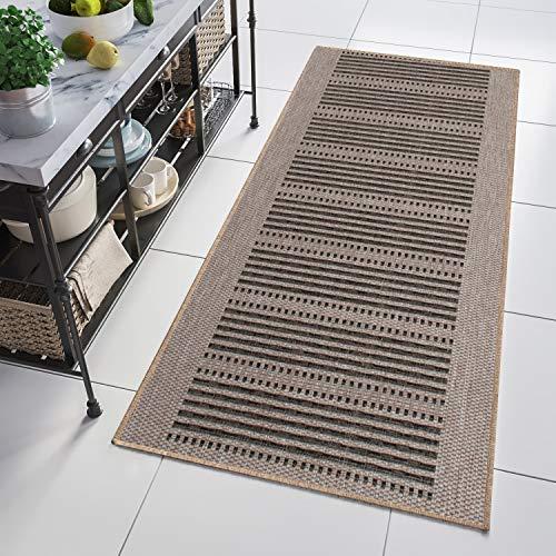 Tapiso Floorlux Teppich Läufer Meterware Flur Küche Wohnzimmer Indoor Sisal Optik Modern Beige Braun Schwarz Flachgewebe 100 x 250 cm