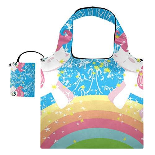 XiangHeFu Gran capacidad plegable de los bolsos de compras de los totalizadores del regalo del ultramarinos reutilizables, unicornio del puente del arco iris