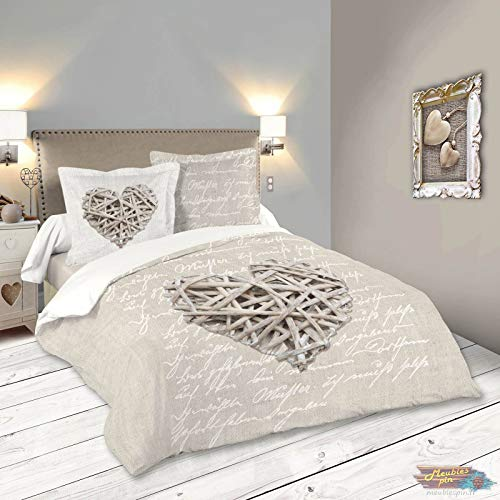Lovely Casa HP41783001 Woodlove Housse de Couette Coton Lin 260 x 240 cm