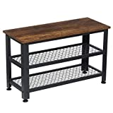 KINGSO Shoe Bench, 3-Tier Industrial Shoe Rack Bench with 2 Mesh Shoe Storage Shelves & Seat, Easy Assembly Wood Look Accent Metal Frame Entryway Bench Shoe Organizer 4PCS Corner Protectors Included