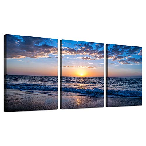 hyidecorart 3 Piece Canvas Wall Art -Sunrise Blue sea View Landscape - Modern Home Decor Room Stretched and Framed Ready to Hang - 12'x16'x3 Panels