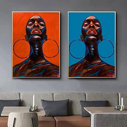 Donna astratta che indossa grandi orecchini Dipinti ad olio su tela Poster e stampa Immagine a parete per la decorazione della stanza moderna 60x80cmx2 (24x32 'x2) Frameless