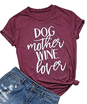 JINTING Dog Mom Wine Lover Shirt for Women Funny Letter Print Crew Neck Short Sleeve Funny Graphic Tee Shirt Cute Top