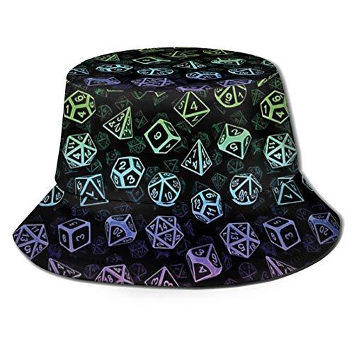 popluck D20 Juego de dados patrón (arcoíris) unisex sombrero pescador sombrero sombrero sombrero sombrero sol plegable impresión 3D al aire libre sombrero playa