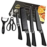 Fukep Professional Kitchen Cutting Knife Set, 6 Pieces Black Sharp Chef Knife Set