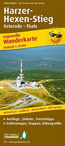 Harzer Hexen-Stieg, Osterode - Thale: Leporello Wanderkarte mit Ausflugszielen, Einkehr- & Freizeittipps, wetterfest, reissfest, abwischbar, GPS-genau. 1:25000 (Leporello Wanderkarte / LEP-WK)
