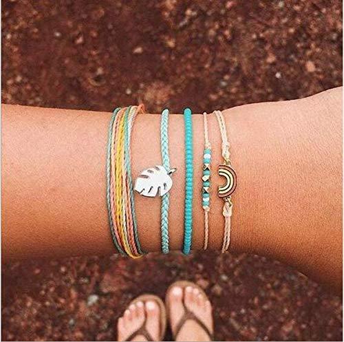 Cathercing Lot de 5 bracelets de cheville pour filles et femmes avec feuilles arc-en-ciel - Bracelet de cheville réglable fait à la main - Corde tressée - pour les adolescentes