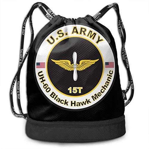 Bolsas de Cuerdas,Bolsas de Gimnasia,Mochilas Tipo Casual, US Army Mos 15T UH-60 Black Hawk Mechanic Bundle Backpack Funny Gym Bag