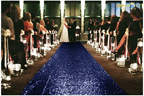 Sequin Aisles Floor Runner-4FTX15FT Wedding Aisle Runner (Navy)