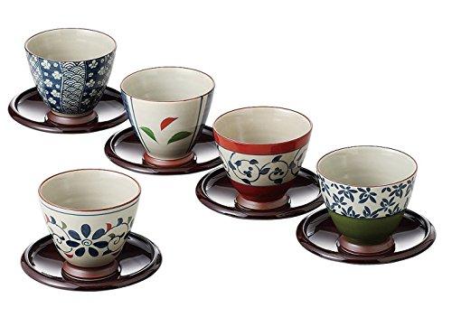 Saikai pottery Juego de tazas y platillos japoneses, 5 diseños de Japón 13041