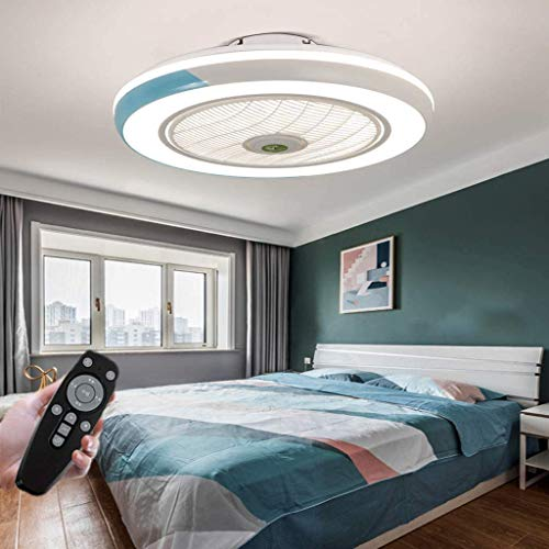 HYKISS LED Ventilatore A Soffitto con Lampada Moderno Invisibile Fan Plafoniera velocità del Vento Regolabile Ventilatore A Soffitto con Luci LED Dimmerabile Plafoniera con Fan Illuminazione,Blu