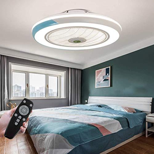 LED Deckenventilator Mit Lampe Moderne Invisible Fan Deckenleuchte Ultra-Leise Deckenventilator Mit Beleuchtung Esszimmer Schlafzimmer Wohnzimmer LED Dimmbar Deckenlampe Mit Fernbedienung Ø50CM,Blau