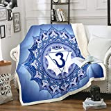 Manta Boho Mandala estilo bohemio para cuna cama sofá adolescente azul mandala impreso manta polar flores exóticas decoración Sherpa manta aire acondicionado King 200,7 x 228,6 cm